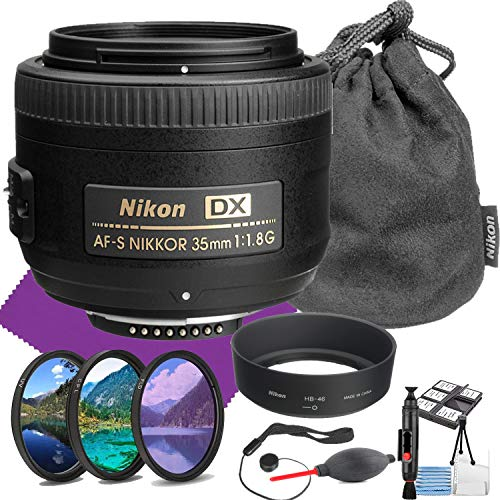 Nikon AF-S DX NIKKOR 35mm f/1.8G Lens with Auto Focus + Acessory Bundle and Cleaning Kit