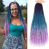 YOLANA 24 Inch 6 Packs Long Senegalese Twists Crochet Braids Hair Three Color Twist Crochet Braiding Hair Small Havana Twist Hair Extensions for Black Women (6Pcs/Lot, Purple/ Lake Blue/ Light Purple)