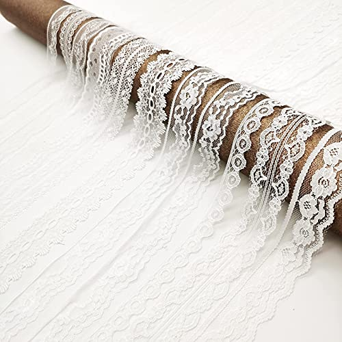 TINWIN White Sewing Lace 10 Different Width Styles of Eyelet Lace Ribbon Roll Non-Stretchy Ribbon for Crafts and DIY Dreamcatchers Decoration Bridal Wedding 50 Yards