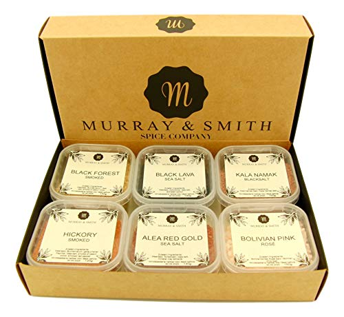 Murray & Smith Zout Collection Set van 6: Black Lava, Black Forest Smoked, Alea Red Gold, Bolivian Pink, Hickory Smoked, Kala Namak