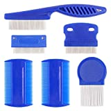Flea Comb for Dogs, 6 Pcs Lice Combs, Cat Combs with Durable Teeth for Removing Tear Stains, Fleas, Dandruff...
