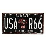 Evilandat, targa metallica Route 66,vintage. Route 66, targa automobilistica decorativa ...