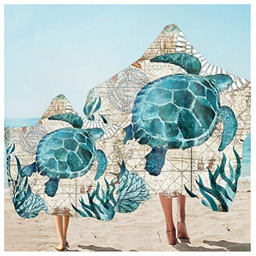 Sticker Superb Ozean Unterwasser Welt Druck Strandtuch Mikrofaser Mit Umhang Schnell Trocknen Bad Poncho Handtuch mit Kapuze Für Familien Eltern-Kind Strandkleidung (Blau Schildkröte, Kid Adult 2pcs)