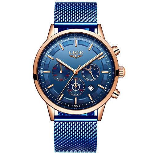 LIGE Relojes Hombre Moda Impermeable Cuarzo Analógico Reloj para Hombre Negocio Vestido con Acero Inoxidable Negro Banda de Malla …