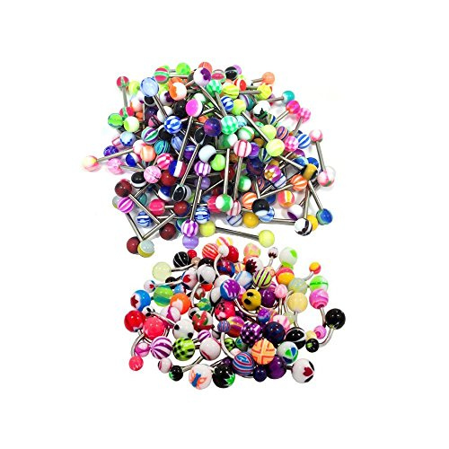 Honbay 100 Mix Pack 50Pc 14G Belly Button Rings and 50Pc 14G Tongue Ring Barbells Kit