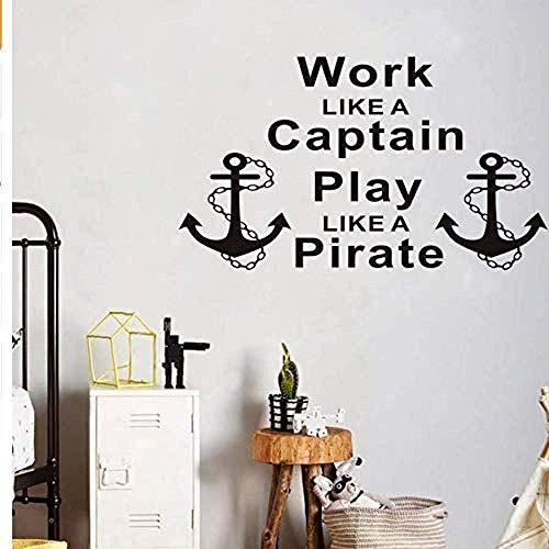 Muursticker muursticker muursticker inspirerend werk als een kapitein spelen als een piraat ankers Decor woonkamer Vinyl S76*44Cm