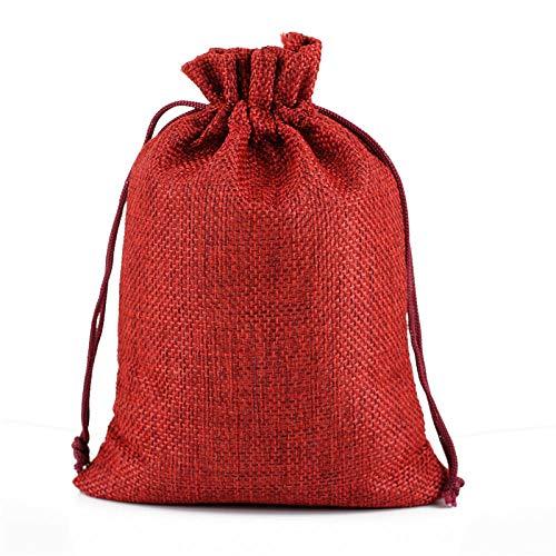 100 Uds 10x14cm bolsa de arpillera bolsas de regalo de lino con cordón de yute para bolsas de embalaje de regalo de dulces de boda-Vino rojo