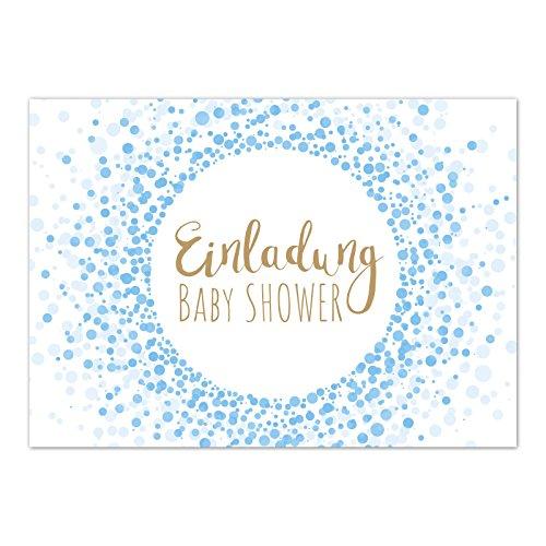 8 x Einladung Baby Shower Party/Einladungskarten mit Umschlag im Set/Motiv: Moderner Look, blau Junge/Babyparty Karte/Postkarte /