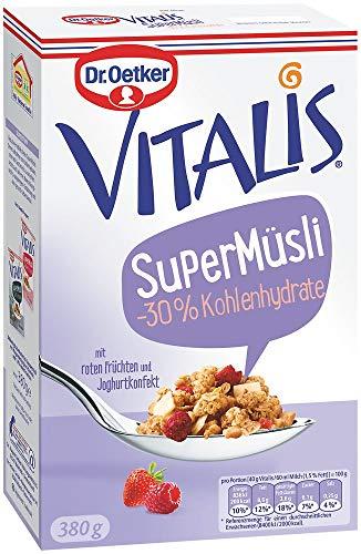Dr. Oetker Vitalis SuperMüsli 30% weniger Kohlenhydrate, Leichtes Müsli mit 100% Geschmack, 7er Packung (7 x 380g)