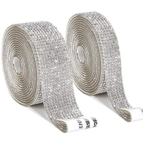 2 rollos/6 yardas de diamante de imitación de cristal autoadhesivo, diamante de imitación de cristal, etiqueta engomada de la decoración del coche y la decoración del regalo para el coche (plata)