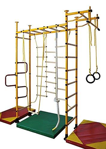 NiroSport FitTop M3 Indoor Klettergerüst für Kinder Sprossenwand für Kinderzimmer Turnwand Kletterwand, TÜV geprüft, kinderleichte Montage, Made in Germany (Orange, Raumhöhe 200-250 cm)