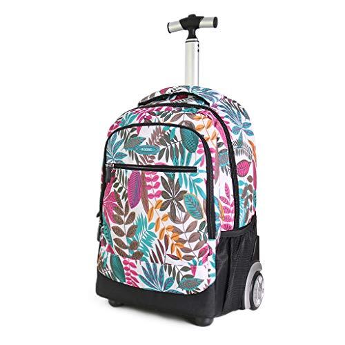 Femmes Trolley Bag Cadeaux Rentrée Scolaire Sac à Dos avec roulettes Étudiant Cartable Roulette Entreprise Bagages Voyage Roues Sac a Dos De Plein air, 19 Pouces