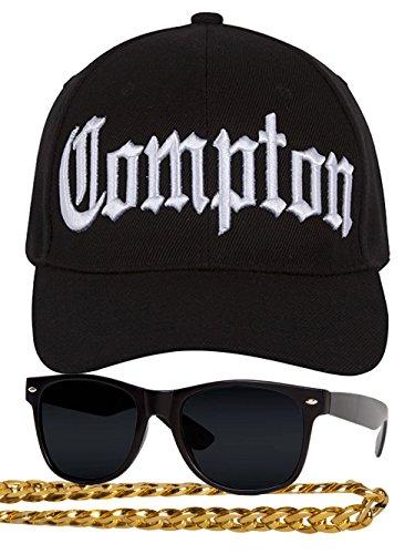 Gravity Compton - Kit de disfraz de rapero de los años 80, diseño curvado, gafas de sol y collar de cadena, color negro