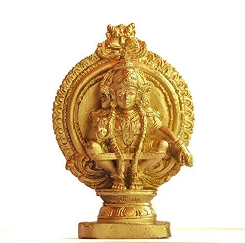 Swadesh Brahma Crafts Ayyapa Idol Made in polymarble, Ayyappa Statue- 4.5 inches Height(Golden Color)