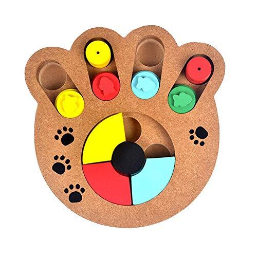 Sungpune Mascota Juguete Interactivo Bandeja de alimentación Alimentación Juguete Lenta alimentador Tazones Forma de Hueso de Madera para Perro Gato