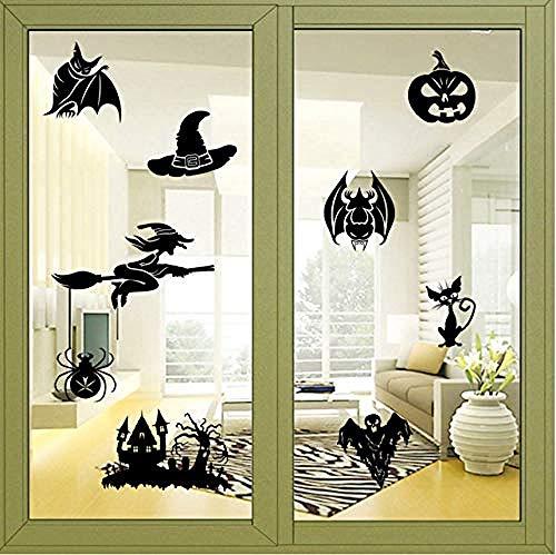 Muurstickers creatieve heks geest bat pompoen apparaat halloween muur sticker slaapkamer decoratie halloween venster sticker verplaatsbaar