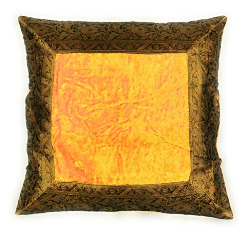 Aga's Own Funda de cojín indio de 40 x 40 cm, funda de cojín oriental india (dorado amarillo)