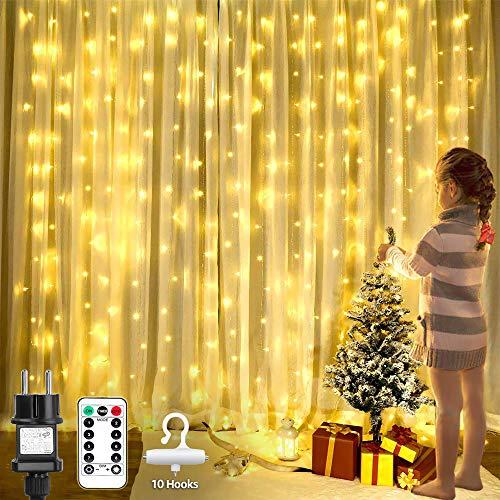 LE Lichtervorhang 3*3m, Lichterketten Vorhang 300 LEDs Warmweiß mit Haken und Anhänger, 8 Modi Dimmbar Kupferdraht, Lichterkette mit Stecker für Party Weihnachten Außen Innen Schlafzimmer Deko