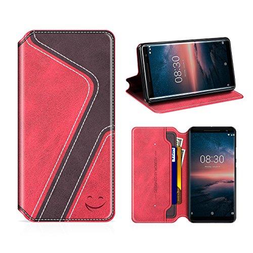 MOBESV Smiley Nokia 8 Sirocco Hülle Leder, Nokia 8 Sirocco Tasche Lederhülle/Wallet Hülle/Ledertasche Handyhülle/Schutzhülle mit Kartenfach für Nokia 8 Sirocco, Rot/Dunkel Violett