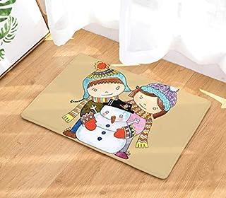 FREEZGTZ Lindo Muñeco De Nieve Impreso Estera del Piso Antideslizante De Dibujos Animados De La Puerta Delantera Estera Decoraciones Navideñas para La Cocina En Casa Alfombra Felpudo