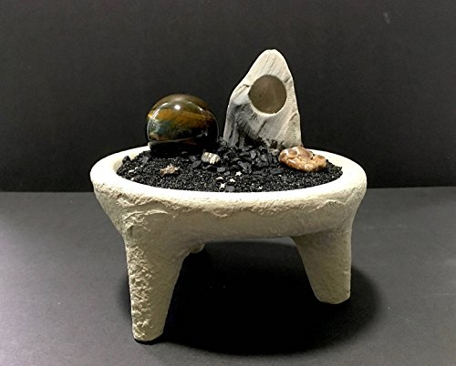 """""""Alien Planet Diorama"""" in Footed Handmade Stone Bowl with Rare Tiger Eye Sphere"""