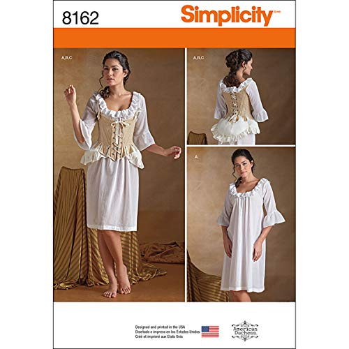 Simplicity Muster 8162Schnittmuster 18. Jahrhundert Dessous Schnittmuster, weiß, Größe H5