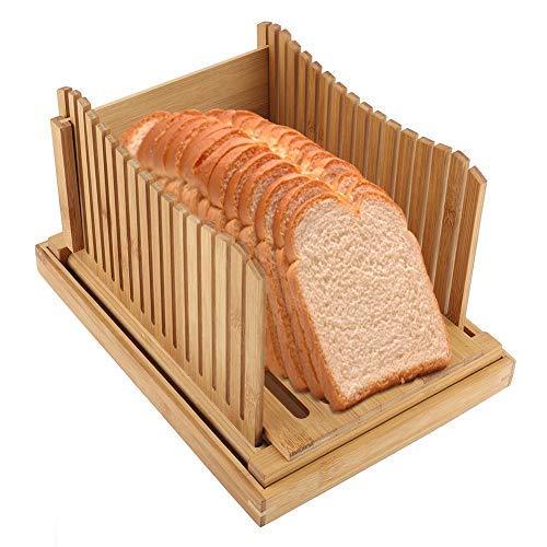 Guía de Rebanadora de Pan de Bambú Plegable con Bandeja de Captura de Miga Placa de Corte de Pan Rebanador 12.5 * 9.3...