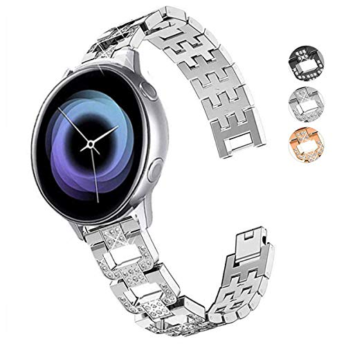 DEALELE Kompatibel mit Galaxy Watch 42mm / Active/Active 2, 20mm D-Type Luxus Diamant Edelstahl Metall Armband Ersatz für Samsung Gear Sport/Huawei Watch GT2 42mm Damen Herren, Silber