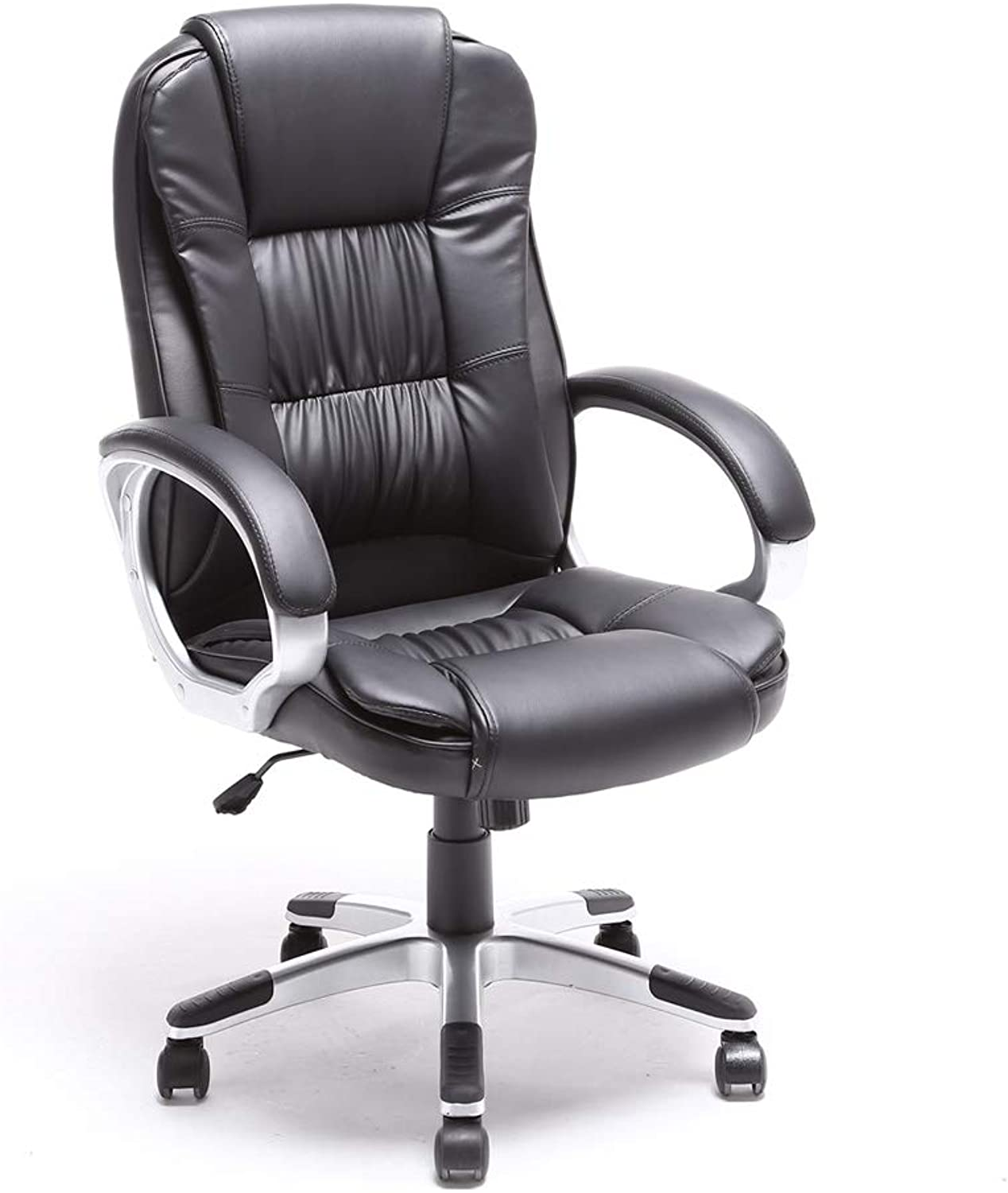 ALEKO ALC2216BL High Back Office Chair Ergonomic Computer Desk Chair Black PU Leather