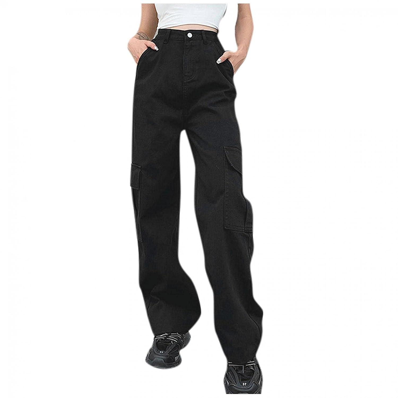 Padaleks High Waisted Jeans for Women, Women's Autumn Winter Vintage Streetwear Trousers Wide Leg Pants Pockets
