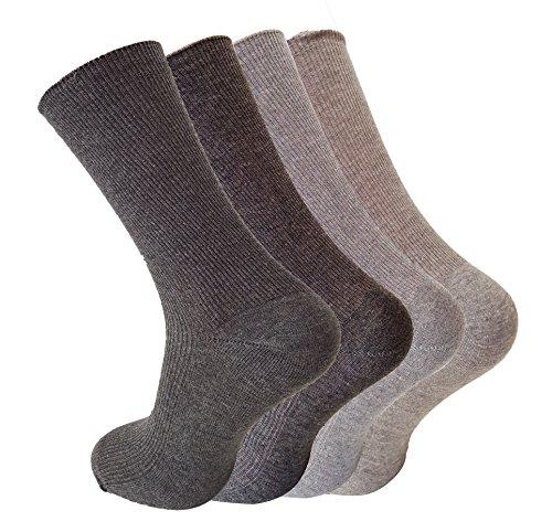 4/8 Paar 100prozent Baumwolle Herren Socken fürs Büro, Freizeit, Theater - atmungsaktiv- ohne einschneidenden Gummi(auch als Diabetikersocke geeignet), Grau, 8Paare 43/46