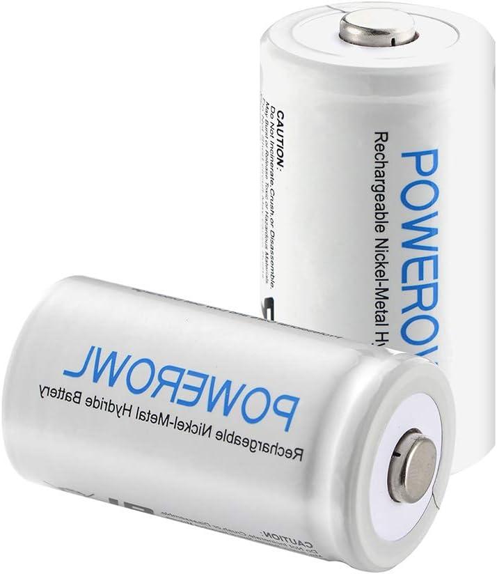 POWEROWL D Batteries 10000mah Ni-MH Rechargeable D Batteries 1.2v Low Self Discharge D Rechargeable Batteries 2 Pack