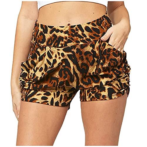 Pantalones Cortos Casual de Estampado para Mujer Pantalón Cortos Verano con Bolsillos Shorts de Mujer Transpirables Pantalones Cortos Suave y Cómodo Cita,Fiesta,Playa