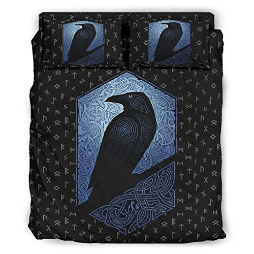 O3XEQ-8 Viking Odin Ravens - Juego de 4 colchas, fundas de almohada y edredón, suave y cómodo, color blanco, 228 x 264 cm