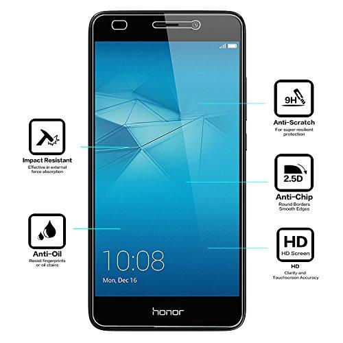 NEARPOW [3 Stück] Huawei Honor 5C Panzerglas Displayschutzfolie, Schutzfolie 9H Härte, Anti-Kratzen, Anti-Öl, Anti-Bläschen, Anti-Fingerabdruck - 3