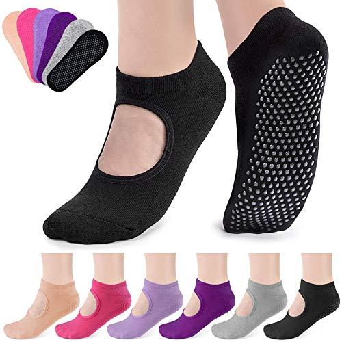 Caffox - Calcetines de yoga para mujer, 6 pares, antideslizantes, adhesivos, para pilates, danza, barra, yoga, con empuñaduras para mujer