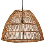 Stone & Beam Rustic Global Round Woven Lamp Shade Hanging Ceiling Pendant Fixture with Light Bulb, 14.75'H, Adjustable Hanging Height, Natural Rattan