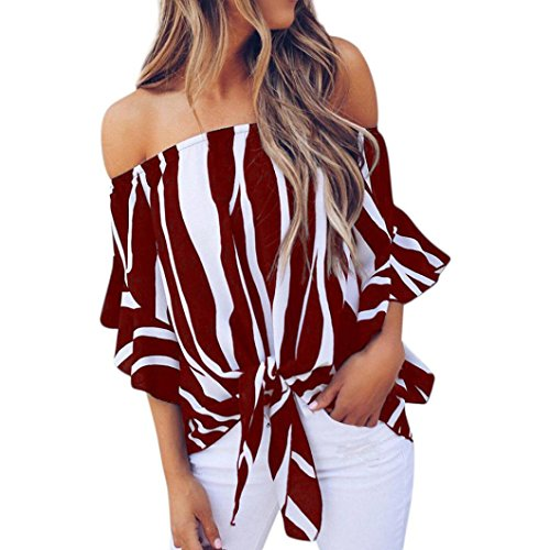 Kulywon Women Striped Off Shoulder Waist Tie Blouse Short Sleeve Fashion T Shirts Tops (XL, Wine)