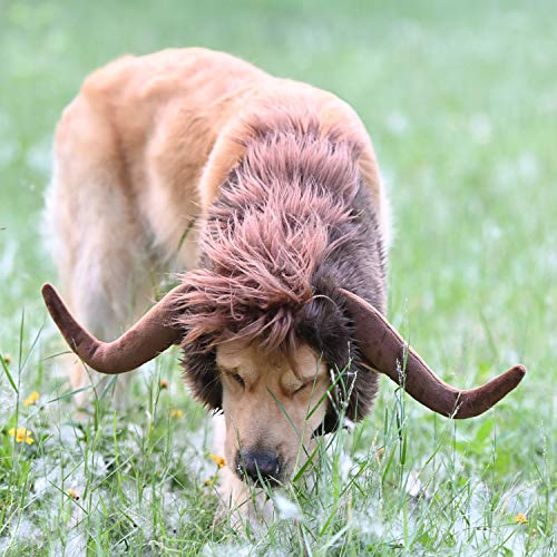 Funny Pet Moose Costumes for Dog, Cute Furry Pet Wig for Halloween...