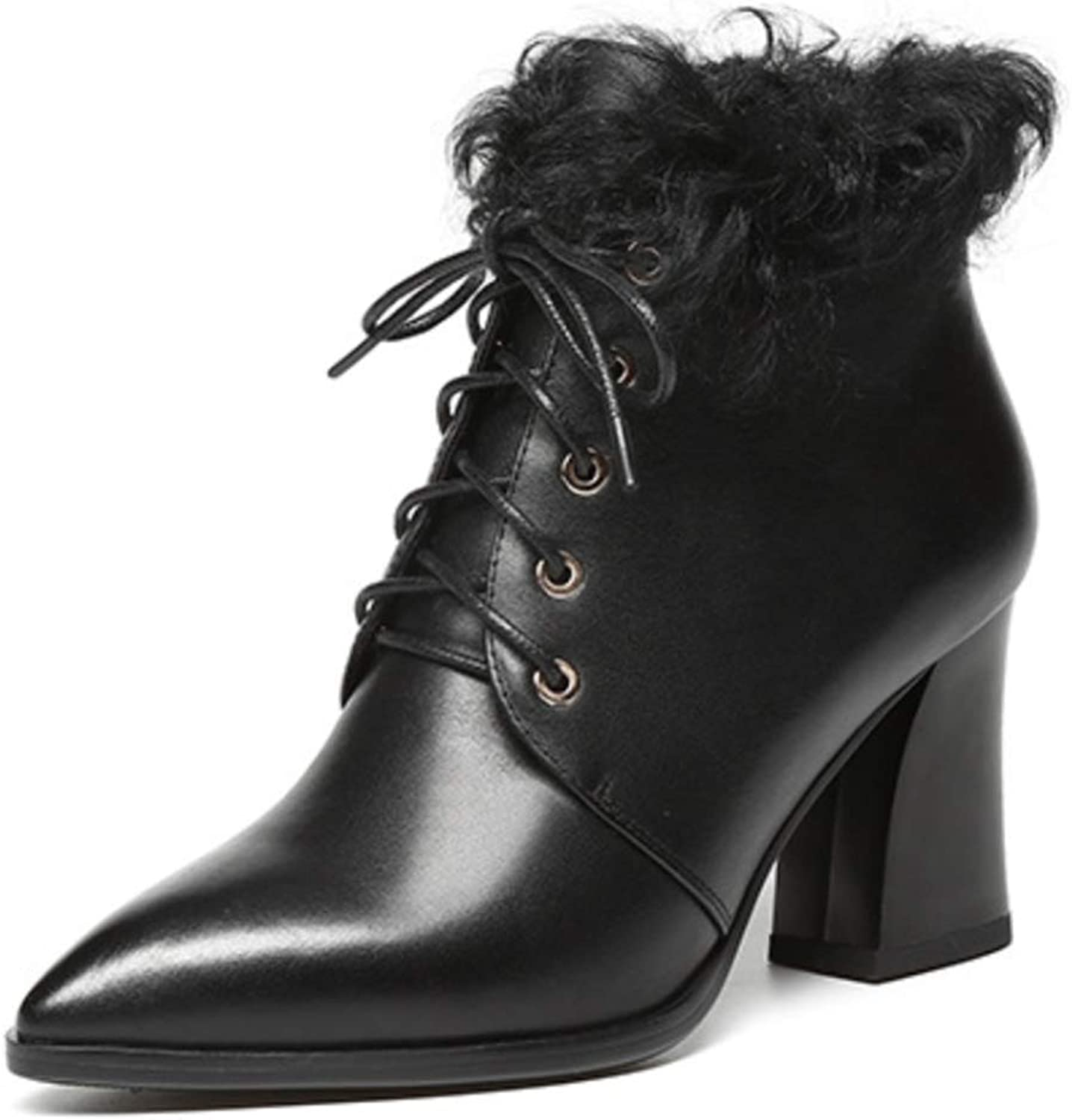 Shiney Women's Chunky Heel Leather Plus Velvet Booties Pointed Front Straps Bare Boots