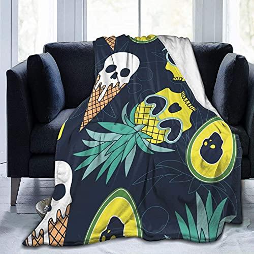 Kteubro Pineapple Skull Ice Cream Skull Ultra-Soft Micro Fleece Blanket for Traveling Camping Home Bed Living Room Sofa D2435