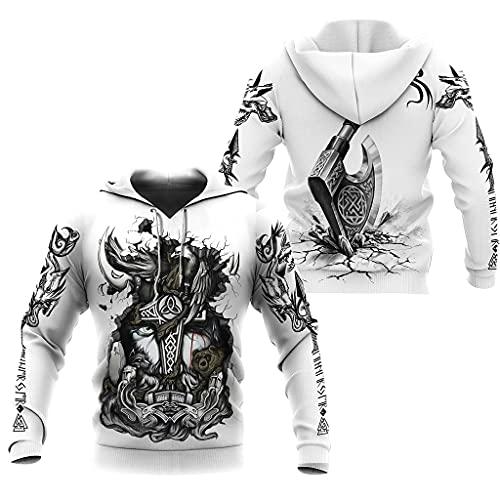 Fandao Martillo de Thor XS — 7XL Sudadera con Capucha Odin Viking Mjolnir, Abrigo de Chaqueta de Jersey Deportivo para Hombre, Impresión 3D, Valhalla, Mitología Nórdica,Plus Velvet h,M