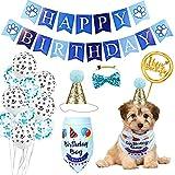 Xnuoyo Decoraciones de Cumpleaños para Perros, Perro Cumpleaños Bandana Sombrero Banner Set, con Globos, Bufanda de Cumpleaños de Perro, Sombrero de Cumpleaños de Perro, Adorno de Torta (Azul)