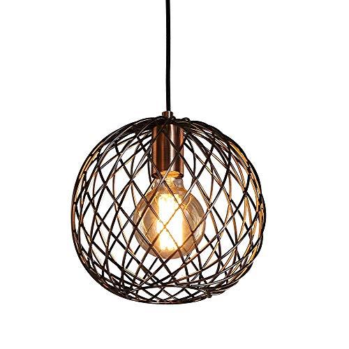 Lustre De Techo Luz colgante de la linterna, E27 Estilo retro Lámpara de techo colgante con alambre de metal fuerte redondo (cobre antiguo) AC 85-265V (Color : Blanco frio)