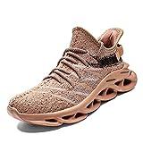 Scarpe da Ginnastica Uomo Donna Scarpe Corsa Air Cushion Sportive Running Atletico Allacciare Sneakers Marrone 41