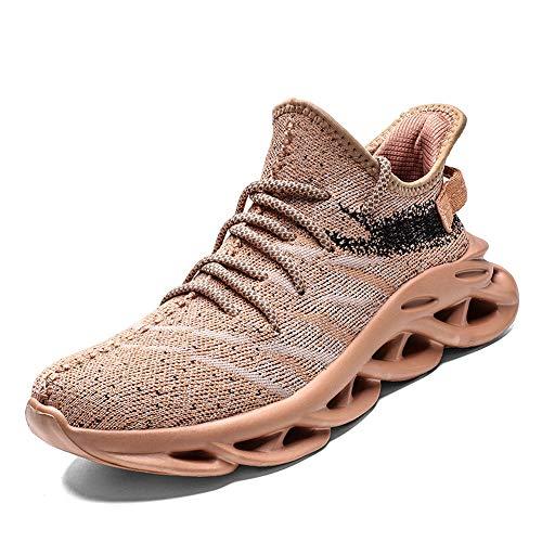 PAMRAY Laufschuhe Sneaker Sports Running Fitness Schuhe Trekking Herren Damen Air Sohle Low Top Mesh Turnschuhe Braun 45