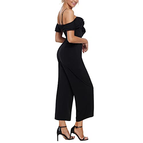 826939baced1dd Luyeess Women's Straps Off Shoulder High Waist Ruffled Long Wide Leg  Jumpsuit