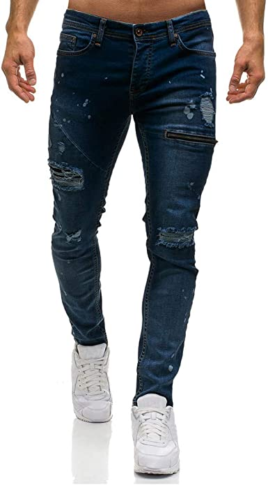 Men Skinny Jeans Ripped Vintage Slim Fit Stretch Destroyed Pants With Broken Holes At Amazon Men S Clothing Store