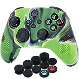 YoRHa Silicona Funda Piel Carcasas Cubierta para Xbox Series X/S Mando x 1 (Verde Camuflaje) con Agarres para el Pulgar x 10