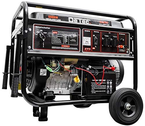DeTec. Generador de corriente de gasolina, 6300 W, monofásico, 230 V, arranque eléctrico, color negro